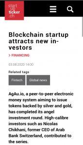 startupticker agau